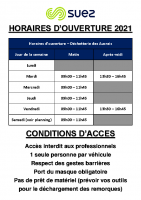 2021-Horaires et conditions d'accès déchetterie des Aucrais